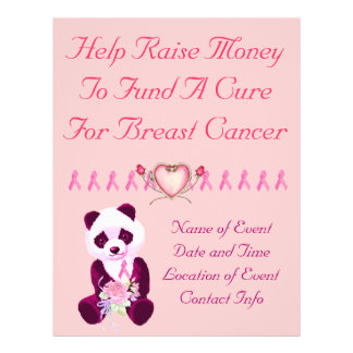 """Oso de panda del cáncer de pecho folleto 8.5"""" x 11"""""""