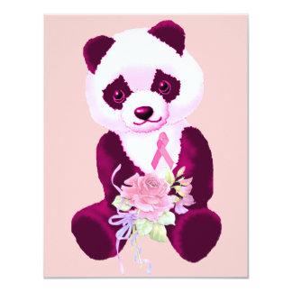 """Oso de panda del cáncer de pecho invitación 4.25"""" x 5.5"""""""
