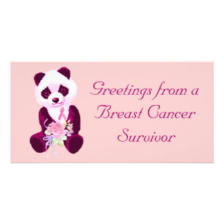 Oso de panda del cáncer de pecho plantilla para tarjeta de foto