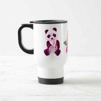 Oso de panda del cáncer de pecho taza de viaje de acero inoxidable