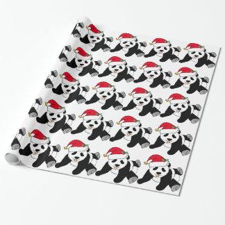 Oso de panda del navidad en el gorra de Santa Papel De Regalo