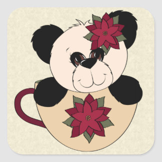 Oso de panda del navidad pegatina cuadrada