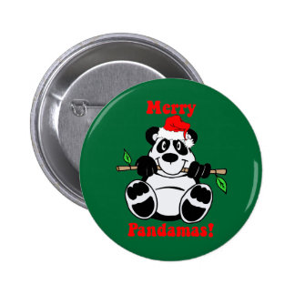 Oso de panda divertido del navidad pin redondo de 2 pulgadas