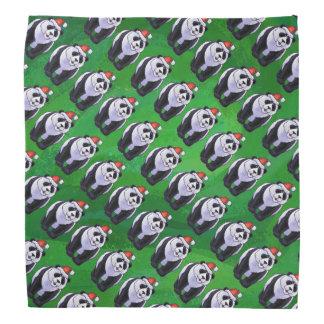 Oso de panda en el gorra de Santa en verde Bandana