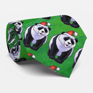 Oso de panda en el gorra de Santa en verde Corbata Personalizada