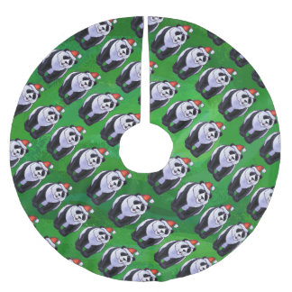 Oso de panda en el gorra de Santa en verde Falda Para Arbol De Navidad De Poliéster