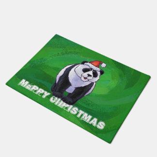 Oso de panda en el gorra de Santa en verde Felpudo