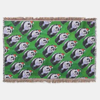 Oso de panda en el gorra de Santa en verde Manta
