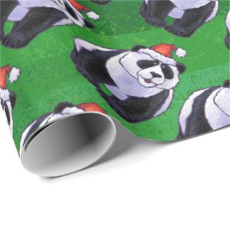 Oso de panda en el gorra de Santa en verde Papel De Regalo
