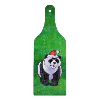 Oso de panda en el gorra de Santa en verde Tablas Para Cortar