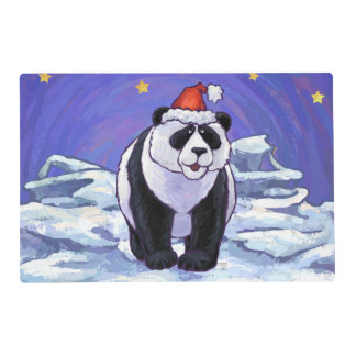 Oso de panda en el gorra de Santa en verde Tapete Individual