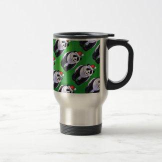 Oso de panda en el gorra de Santa en verde Taza Térmica