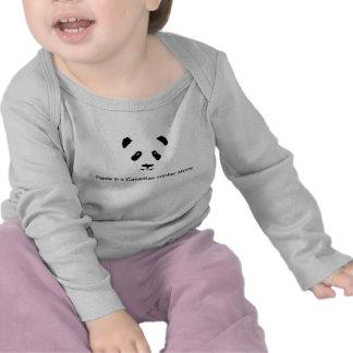 Oso de panda en una manga larga de la tormenta can camisetas