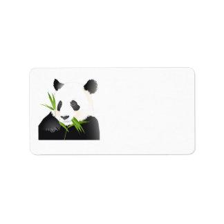Oso de panda etiquetas de dirección