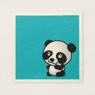 Oso de panda feliz blanco y negro lindo servilletas de papel