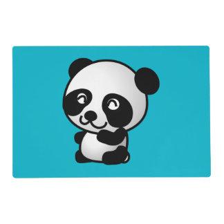 Oso de panda feliz blanco y negro lindo tapete individual