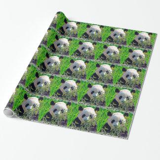 Oso de panda gigante lindo con las hojas de bambú papel de regalo