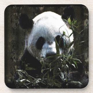 Oso de panda gigante lindo con las hojas de bambú  posavasos