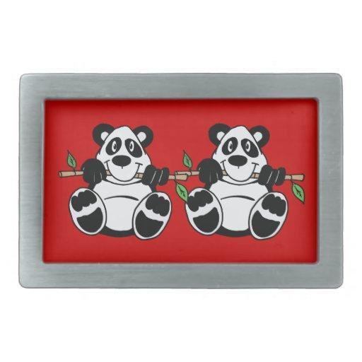 Oso de panda lindo con el arte de bambú del dibujo hebilla de cinturon