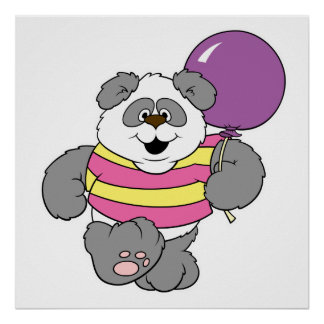 Oso de panda lindo con el globo poster