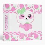 Oso de panda lindo de Kawaii del rosa de la fresa
