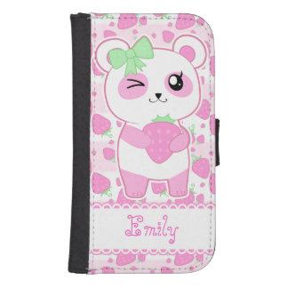 Oso de panda lindo de Kawaii del rosa de la fresa Billeteras Para Teléfono
