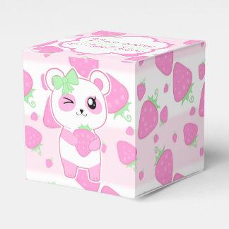 Oso de panda lindo de Kawaii del rosa de la fresa Caja Para Regalo De Boda