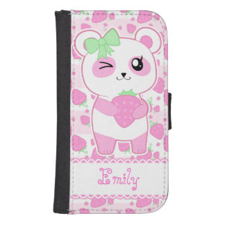 Oso de panda lindo de Kawaii del rosa de la fresa Funda Billetera Para Teléfono