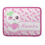 Oso de panda lindo de Kawaii del rosa de la fresa Fundas Para Macbooks
