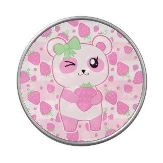 Oso de panda lindo de Kawaii del rosa de la fresa Jarrones De Dulces