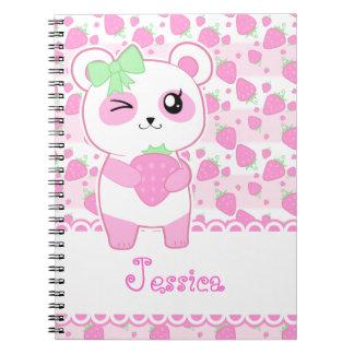 Oso de panda lindo de Kawaii del rosa de la fresa Cuadernos