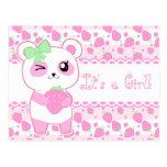 Oso de panda lindo de Kawaii del rosa del Postales