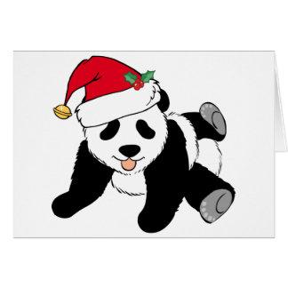 Oso de panda lindo del navidad en el gorra de tarjeta de felicitación
