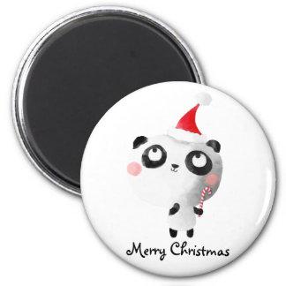 Oso de panda lindo del navidad imán redondo 5 cm