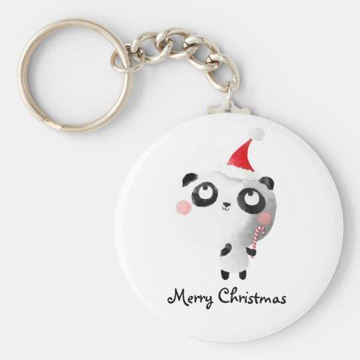 Oso de panda lindo del navidad llavero redondo tipo pin