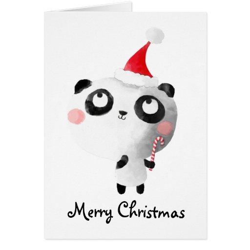 Oso de panda lindo del navidad tarjeta de felicitación