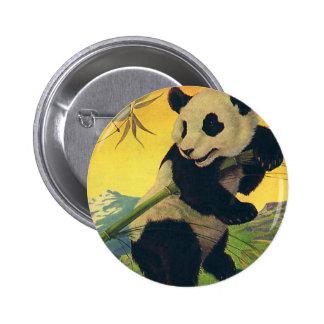 Oso de panda lindo del vintage que come el bambú, pin redondo de 2 pulgadas