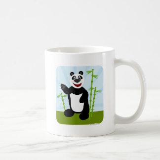 Oso de panda lindo estupendo 2 echado a un lado taza