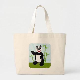 Oso de panda lindo estupendo bolsa tela grande
