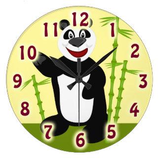 Oso de panda lindo estupendo reloj redondo grande