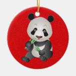 Oso de panda lindo ornamentos de reyes magos