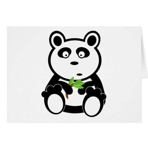 Oso de panda lindo que come las hojas del bambú tarjeton