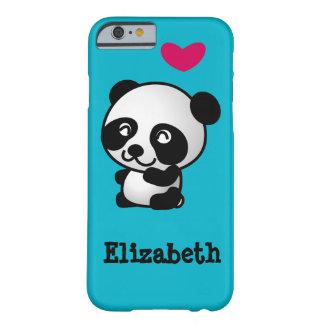 Oso de panda lindo y feliz personalizado con el funda de iPhone 6 barely there