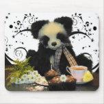 Oso de panda Mousepad Mousemat, con té y tortas Alfombrilla De Raton