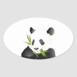 Oso de panda calcomanías ovales personalizadas