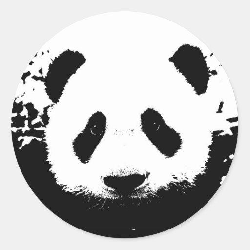 Oso de panda etiquetas redondas