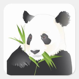 Oso de panda pegatina cuadrada