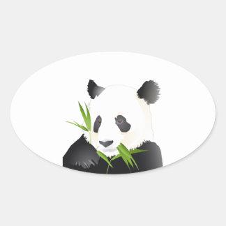 Oso de panda pegatina ovalada