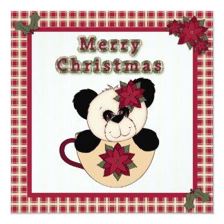 """Oso de panda plano de la tarjeta de Navidad en una Invitación 5.25"""" X 5.25"""""""