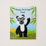 Oso de panda que desea feliz cumpleaños puzzles con fotos